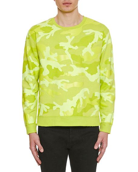 Valentino Men's Neon Camo Crewneck Sweatshirt