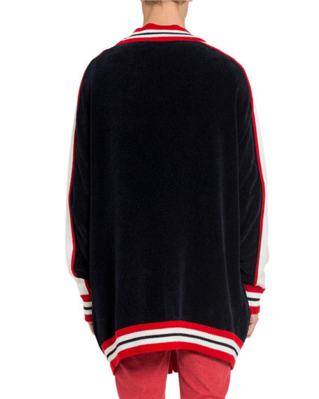 Balmain Men's Oversized Striped-Trim Cardigan