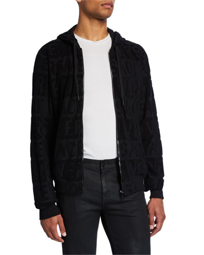 Men's Tonal Logo Print Zip-Up Hooded Jacket