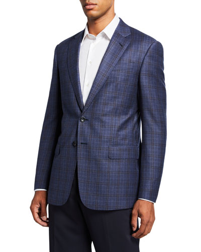 Men's Two-Tone Windowpane Plaid Two-Button Jacket