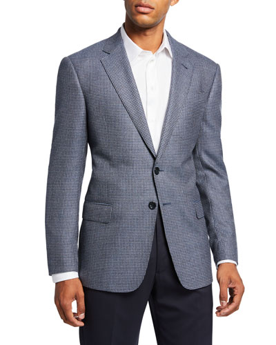 Men's Mini-Check Wool Two-Button Sport Coat  Blue