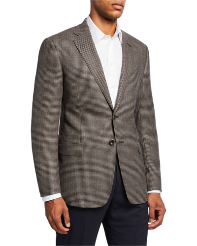 Men's Mini-Check Wool Two-Button Sport Coat  Brown