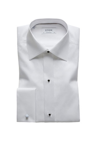 Eton Men's Contemporary-Fit Formal Textured Bib Dress Shirt