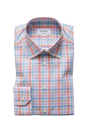 Eton Men's Contemporary-Fit Bold Check Dress Shirt