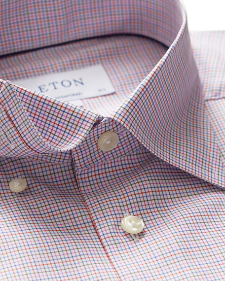 Image 2 of 3: Men's Contemporary-Fit Tattersall Check Dress Shirt