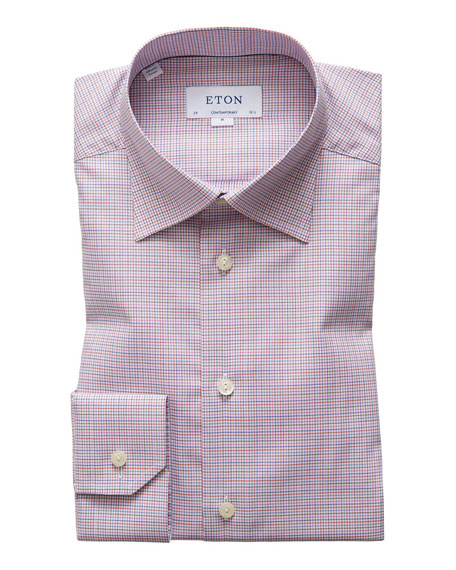Image 1 of 3: Men's Contemporary-Fit Tattersall Check Dress Shirt