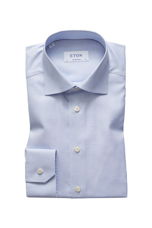 Eton Men's Contemporary-Fit Micro-Check Cotton Dress Shirt