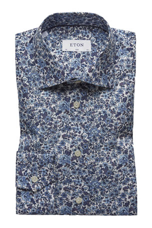 Eton Men's Slim-Fit Floral Cotton Dress Shirt