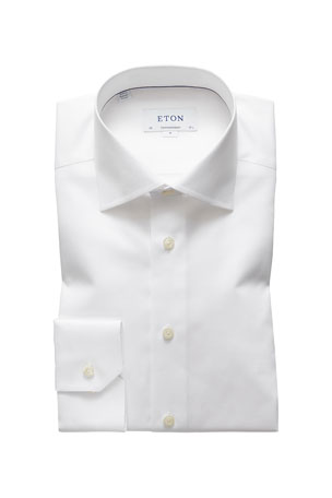 Eton Men's Contemporary-Fit Cotton/Linen Dress Shirt, White
