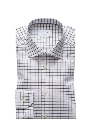 Eton Men's Contemporary-Fit Windowpane Check Dress Shirt