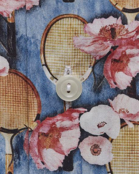 Eton Men's Tennis-Print Cotton Dress Shirt