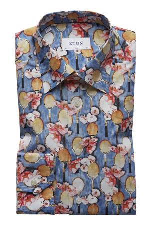 Eton Men's Slim-Fit Tennis-Print Cotton Dress Shirt