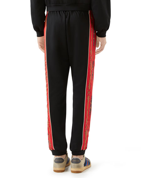 Gucci Men's Technical Jersey Track Pants w/ Chain Print