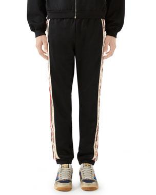 2fdc8eb26b Gucci Men's Technical Jersey Track Pants w/ Chain Print