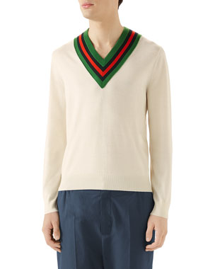 d13d41e12ef Gucci Men s Tipped Stripe V-Neck Sweater