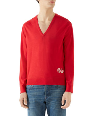 38c32012db0 Gucci Men s V-Neck Logo-Applique Sweater