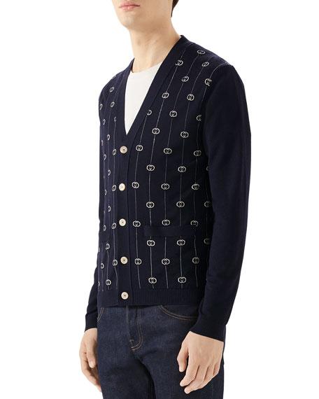 Gucci Men's GG-Intarsia Cardigan