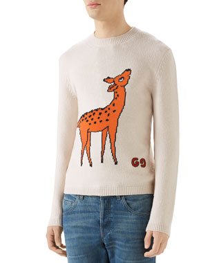 e79d561044a Gucci Men s Deer Graphic Crewneck Sweater