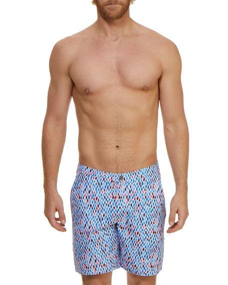 Jachs NY Men's Mosaic Graphic-Pattern Swim Trunks