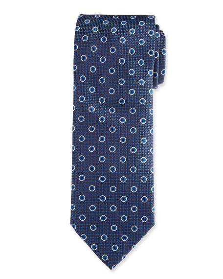 Canali Circles on Pebbled Texture Silk Tie