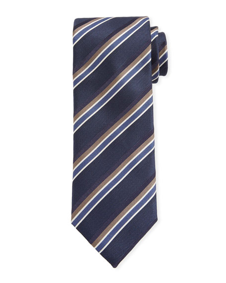 Canali Barathea Striped Silk Tie, Blue