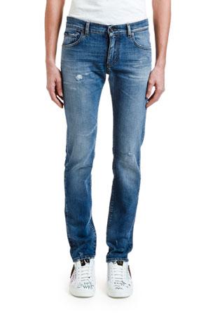 Dolce & Gabbana Men's Distressed Straight-Leg Stretch-Denim Jeans