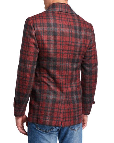 Isaia Men's Plaid Wool Pea Coat