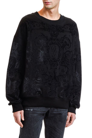 Dolce & Gabbana Men's Tonal Felted Lace Sweatshirt