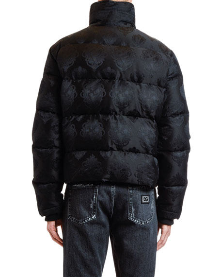 Dolce & Gabbana Men's Jacquard Quilted Puffer Bomber Jacket