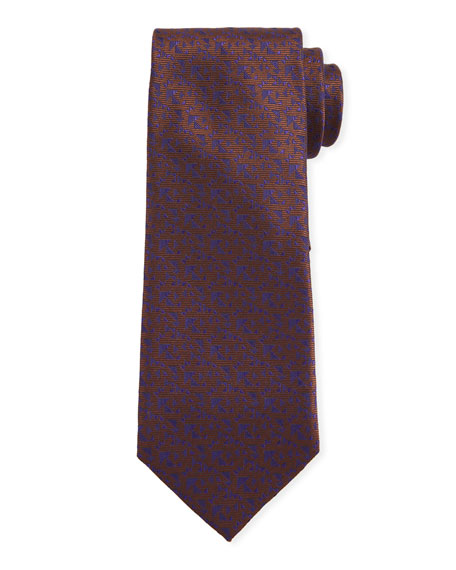Canali Men's Triangle Neat Silk Tie, Brown