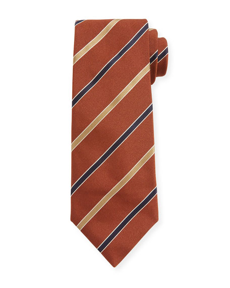Canali Contemporary Rep Striped Silk Tie, Rust