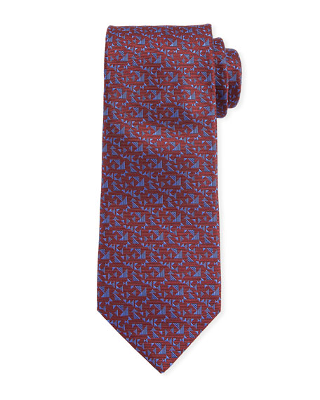 Canali Men's Triangle Neat Silk Tie, Red