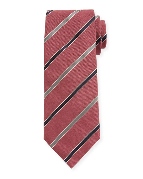 Canali Contemporary Rep Striped Silk Tie, Pink