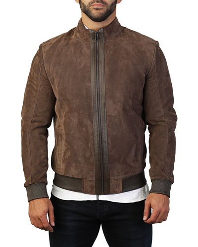 Men's Perforated Leather Zip-Front Jacket