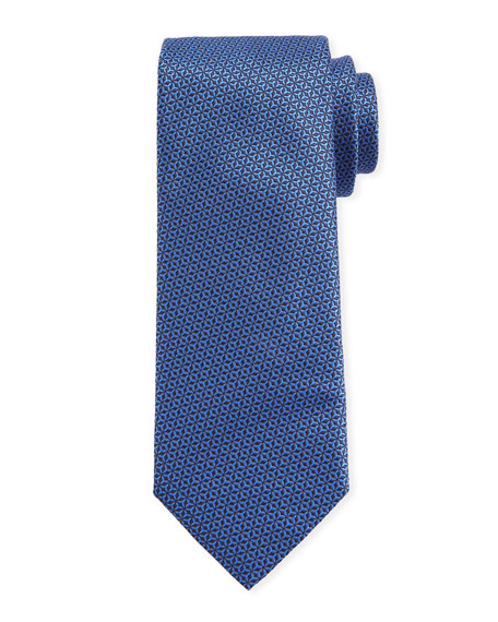 Canali Men's Star-Weave Silk Tie, Blue