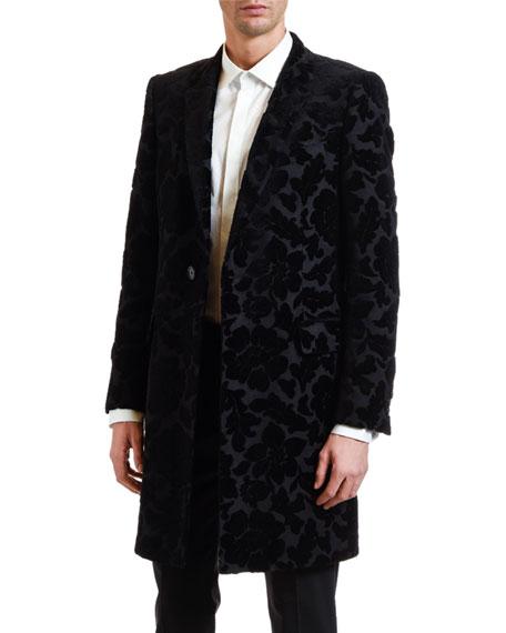 Dolce & Gabbana Men's Tonal Floral Brocade Topcoat