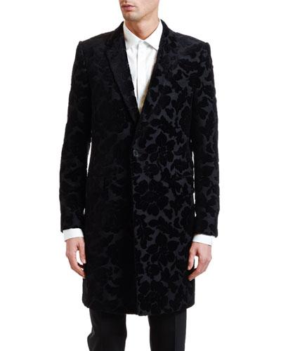 Men's Tonal Floral Brocade Topcoat