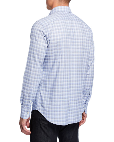 Canali Men's 2-Ply Cotton Check Sport Shirt