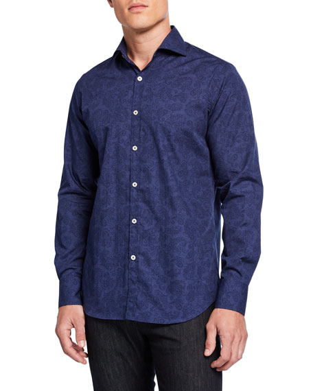 Canali Men's Impeccabile Paisley 2-Ply Cotton Sport Shirt