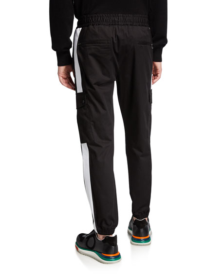 Dolce & Gabbana Men's Stretch-Cotton Cargo Sweatpants with Side Stripes