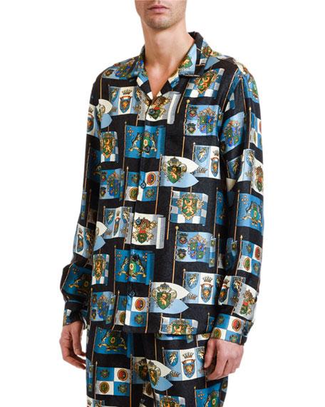Dolce & Gabbana Men's Crest-Print Silk Pajama Top