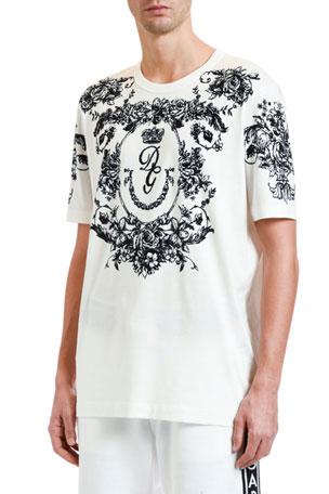 Dolce & Gabbana Men's Lace Felted Crewneck T-Shirt