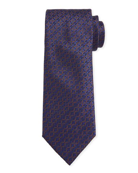 Canali Men's Cross Silk Tie, Navy