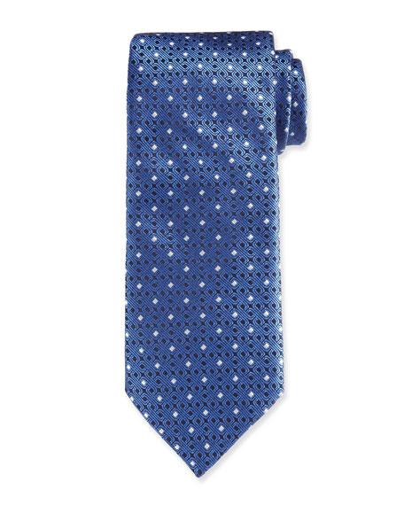 Canali Men's Contemporary Links Silk Tie, Blue