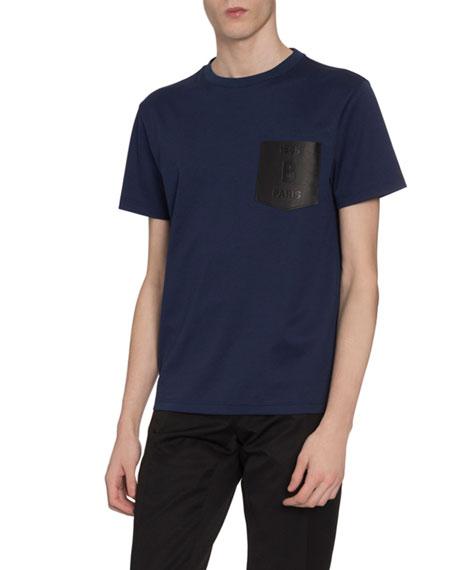 Berluti Men's Leather-Pocket T-Shirt