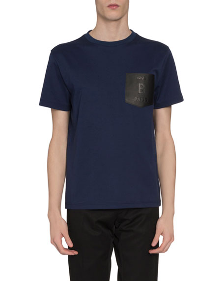 Berluti T-shirts Men's Leather-Pocket T-Shirt