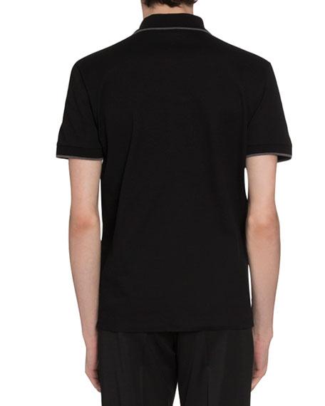 Berluti Men's Tipped Pique-Knit Polo Shirt, Black