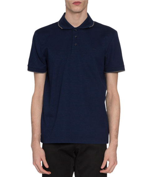 Berluti Knits Men's Tipped Pique-Knit Polo Shirt, Royal