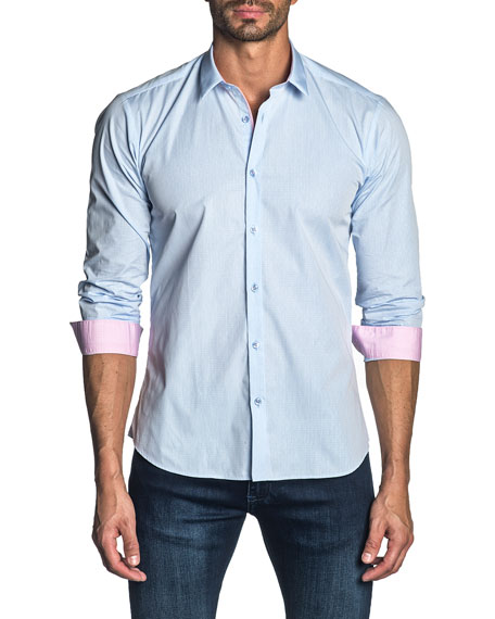 Jared Lang Men's Long-Sleeve Solid Sport Shirt