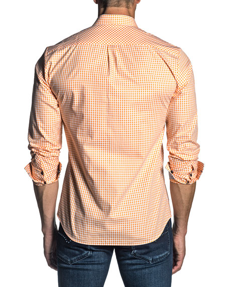 Jared Lang Men's Long-Sleeve Gingham Check Sport Shirt